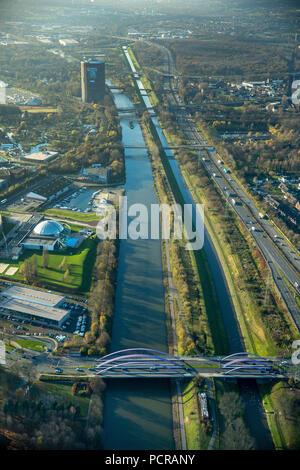 River Emscher and Rhine-Herne Canal at the Marina Oberhausen, Gasometer Oberhausen, Oberhausen, Ruhr area, North Rhine-Westphalia, Germany - Stock Photo