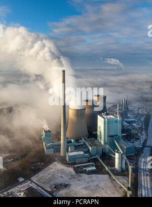 RWE Power Gersteinwerk, coal power plant in winter light, inversion weather situation over Werne, Werne, Ruhr area, North Rhine-Westphalia, Germany - Stock Photo