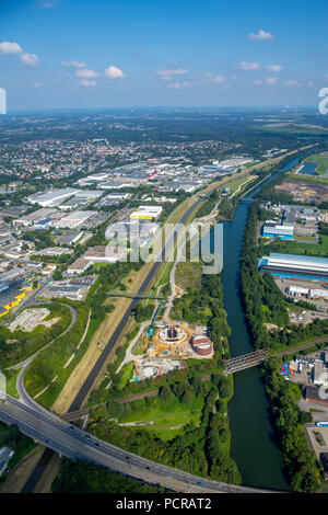 Ecological reconstruction of the Emscher system, central sewage treatment system in the Ruhr area, Emscher pumping station, Emscher, Rhine-Herne canal, Emscher island, Emscher conversion, Emscher sewage canal, Ruhr area, - Stock Photo