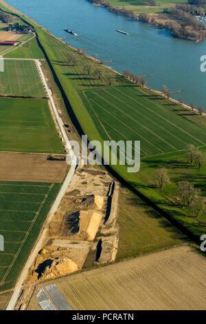 Construction work on the dikes of Ehingen, Rhine dike, flood protection, Duisburg, Ruhr area, North Rhine-Westphalia, Germany - Stock Photo