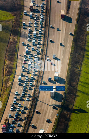 Traffic jam on the A40 bridge, in front of Rhine bridge, closed to heavy traffic, Duisburg, Ruhr area, North Rhine-Westphalia, Germany - Stock Photo
