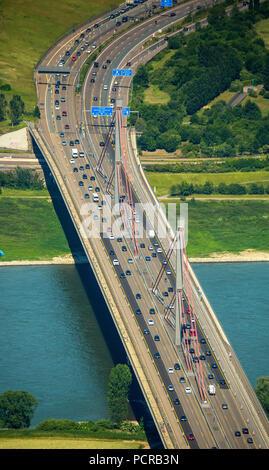 Autobahn bridge blocked for truck traffic, ramshackle Autobahn bridge over Rhine at Leverkusen -West, Pylons, Rhine crossing A1, traffic infrastructure, streets, Cologne, Rhineland, North Rhine-Westphalia, Germany - Stock Photo