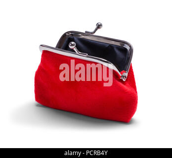 Open Red Velvet Coin Purse Isolated on White. - Stock Photo