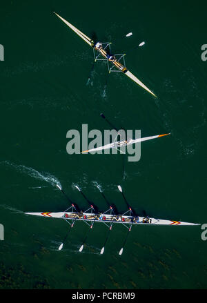 Rowing boats on the Ruhr River, Witten, Ruhr area, North Rhine-Westphalia, Germany - Stock Photo