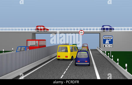 Highway with colorful cars and traffic signs. Text truckstop in German. 3d rendering - Stock Photo