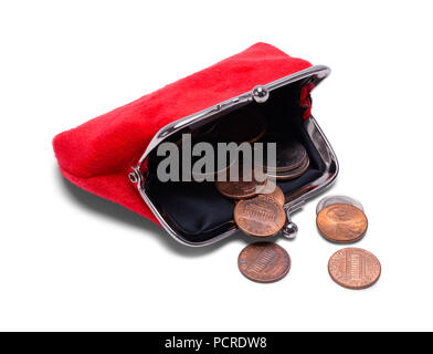 Open Coin Purse With Change Spilling Out Isolated on White. - Stock Photo