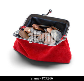 Full Open Change Purse with Coins Isolated on White. - Stock Photo