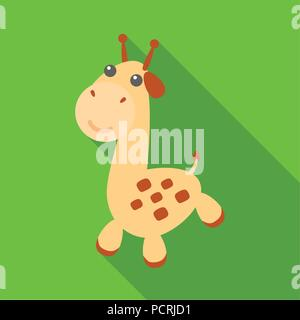 Giraffe icon in flat style isolated on white background. Animal One symbol vector illustration - Stock Photo