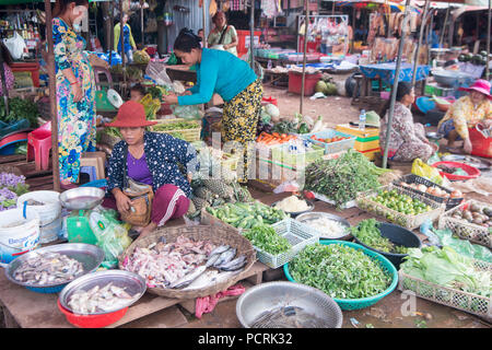 a food market at the town of Sra Em in the province of Preah Vihear in Northwest Cambodia.  Cambodia, Sra Em, November, 2017, - Stock Photo