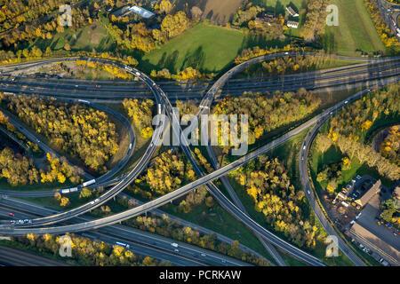 Autobahnkreuz Kaiserberg interchange, spaghetti interchange, A3 and A40 Autobahnen, Ruhrschnellweg, aerial view of Duisburg, Ruhr area - Stock Photo