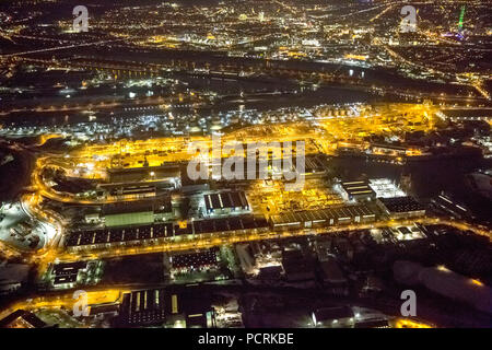 Aerial photo, night shot, Ruhr port, Duisport at night, Ruhr River, Duisburg harbour, Duisburg, Ruhr area, North Rhine-Westphalia, Germany, Europe - Stock Photo