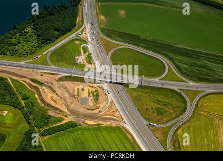 Development of Autobahnkreuz Duisburg-Süd interchange, B288 and A59 Autobahn (motorway), Duisburg, Ruhr area, North Rhine-Westphalia, Germany - Stock Photo