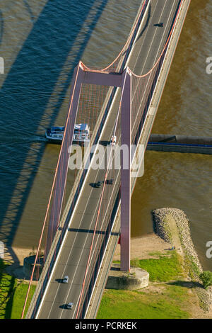 Emmerich bridge over the Rhine, aerial view of Emmerich on the Rhine River, Lower Rhine - Stock Photo