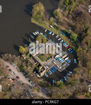 Aerial photo, Scheppen House in spring, Essen, Ruhr area, North Rhine-Westphalia, Germany, Europe - Stock Photo