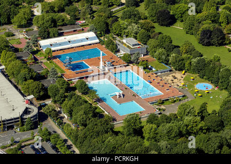 Aerial photo, Grugabad Essen, outdoor swimming pool, Essen, Ruhr area, North Rhine-Westphalia, Germany, Europe - Stock Photo