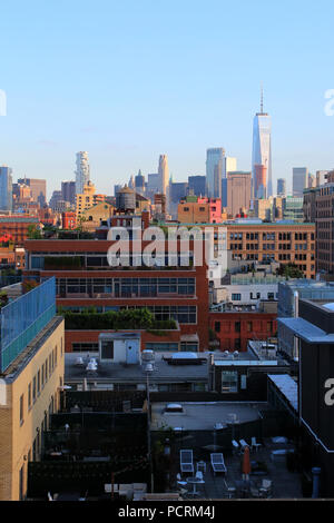 Rooftop view of  Lower Manhattan and Financial District skyline, Meatpacking District, Manhattan on JULY 7th, 2017 in New York, USA. - Stock Photo