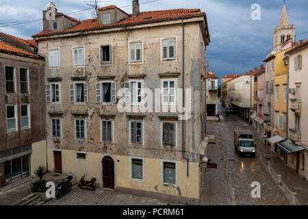 Zadar, Croatia - July 23, 2018: Panoramic view of Zadar old town at sunrise seen from Sea Gate - Stock Photo