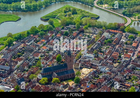 Bastion Oud Molen, NAARDEN VESTING, Fortress of Naarden with town house and church, Great Church or St. Vitus Church, medieval fortress, fortress town, North Holland, Naarden, North Holland, Netherlands - Stock Photo