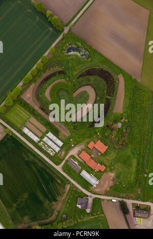 Aerial view, heart in spring, nursery at Markfelder Weg, Waltrop, Ruhr area, North Rhine-Westphalia, Germany, Europe - Stock Photo