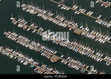 Aerial view, sailboats in harbour Warnemünde, marina Residenz Hohe Düne, sailboats, Rostock Hansesail, Warnemünde, Rostock, Baltic Sea, Baltic Sea coast, Mecklenburg-West Pomerania, Germany, Europe - Stock Photo
