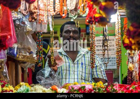 Flower vendors, street scenes, Serangoon Road, Little India district, Singapore, Asia, Singapore - Stock Photo