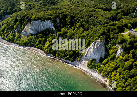 Aerial view, chalk cliffs, Jasmund National Park, Grosse Stubbenkammer, Kleine Stubbenkammer, Königsstuhl, observation deck, Sassnitz, Rügen, Mecklenburg-West Pomerania, Germany, Europe - Stock Photo