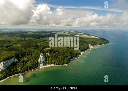 Aerial view, chalk cliffs, Jasmund National Park, Grosse Stubbenkammer, Kleine Stubbenkammer, Königsstuhl, observation deck, Sassnitz, Rügen, Mecklenburg-West Pomerania, Germany, Europe - Stock Photo