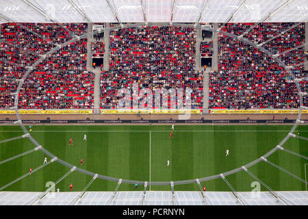 Aerial view, BayArena, Bay Arena, Bayer Leverkusen vs. FSC Mainz, football stadium, Bundesliga, grandstand, Leverkusen, Rhineland, North Rhine-Westphalia, Germany, Europe - Stock Photo