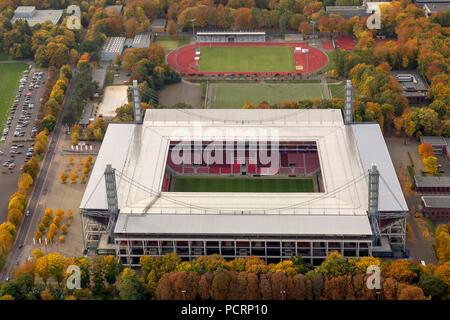 Aerial view, RevierEnergieStadion, 1.FC Köln, Rhein-Energie-Stadion, 2.Bundesliga, Cologne, Rhineland, North Rhine-Westphalia, Germany, Europe - Stock Photo