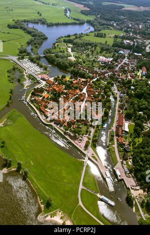 Aerial view, old town of Hitzacker with the Jeetzel and Altjeetzel, Elbe, Elbe shore, flood protection works, sluice, Hitzacker (Elbe), district Lüchow-Dannenberg, Elbe Valley, Lower Saxony, Germany, Europe - Stock Photo