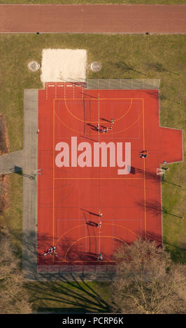 Aerial view, Beisenkamp Gymnasium with sports facility, red multi-sport field, basketball court, Hamm, Ruhr area, North Rhine-Westphalia, Germany, Europe - Stock Photo