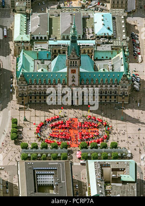Aerial view, Hamburg Town Hall, The Bürgerschaft of the Free and Hanseatic City of Hamburg, red pavilions in front of the town hall on the Schleusenbrücke, Hamburg, Hamburg, Germany, Europe - Stock Photo