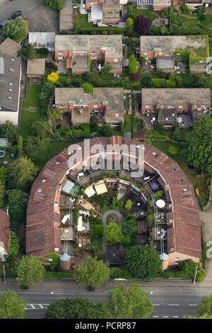 Aerial view, bent residential building, balconies Eppenhauser Strasse near Holy Trinity Church, Hagen, Ruhr area, North Rhine-Westphalia, Germany, Europe - Stock Photo