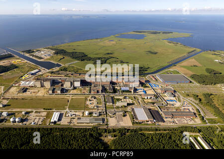 Aerial view, reactor house former nuclear power plant Lubmin nuclear power plant, Rubenow, Greifswalder Bodden, Mecklenburg-West Pomerania, Germany, Europe - Stock Photo