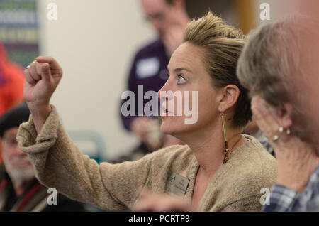 Boulder City Council Member Jill Adler Grano gestures during an 'Chat with Council' event - Stock Photo