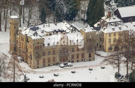 Aerial view, hunting lodge Herdringen Tudor Castle in the snow, Neheim, Arnsberg, Sauerland, North Rhine-Westphalia, Germany, Europe - Stock Photo