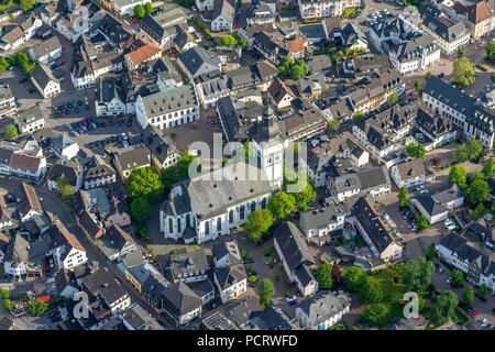 Town center with parish church of St. John Baptist, aerial view of Attendorn - Stock Photo