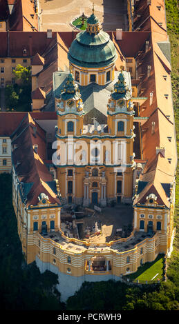 Aerial view, Benedictine Monastery, UNESCO World Heritage Site, Austrian Baroque Abbey, Wachau, Melk Abbey, Großpriel, Lower Austria, Austria - Stock Photo
