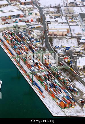Aerial view, container harbor Dortmund, inland hsarbor, harbor of Dortmund with the Envio administration PCB scandal, Dortmund, Ruhr area, North Rhine-Westphalia, Germany, Europe - Stock Photo