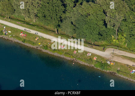 Aerial view, Dortmund-Ems Canal north of the harbor Dortmund, regatta training course of the Olympic champion in the rowboat, Dortmund, Ruhr area, North Rhine-Westphalia, Germany, Europe - Stock Photo