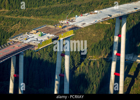 highest valley bridge of North Rhine-Westphalia, Bestwig-Nuttlar, new bridge constructions of the A44 motorway between Meschede and Olsberg on Bestwiger urban area, Bestwig, Sauerland, North Rhine-Westphalia, Germany - Stock Photo