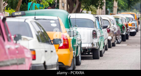 historic car in the street scene, Old American street cruiser on the streets of Havana, taxi, La Habana, Havana, La Habana, Cuba, Cuba - Stock Photo