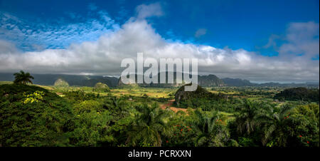 Tobacco fields and the mountains of the Mogotes, Viñales valley with karst mountains, Viñales, panorama, Pinar del Río province, Cuba, North America, Cuba - Stock Photo