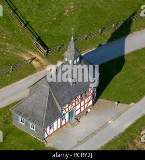 Small village church, half-timbered houses in the Lippische Open Air Museum Detmold, LWL Museum Detmold, country organisation Westfalen-Lippe, aerial photo of Detmold - Stock Photo