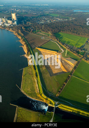 Conversion of the Emscher estuary, Emscher, Rhine, Dinslaken, Ruhr area, North Rhine-Westphalia, Germany - Stock Photo