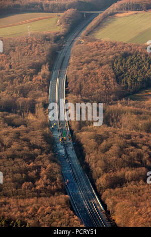 Aerial view, stoppage of the A45 Sauerland line between the Westhofener Kreuz and Dortmund-Sued, cave to the surface, cave-in, mining, construction site, Dortmund, Ruhr area, North Rhine-Westphalia, Germany, Germany, Europe - Stock Photo