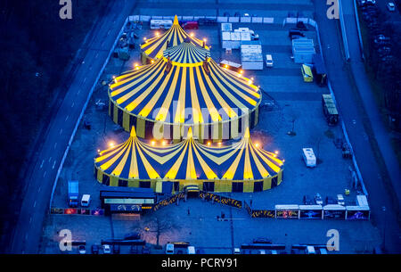 Circus tent, Christmas circus in coal-mining area, 'Beautiful Firetage' Show, car park E behind Westfalenhalle venue before Christmas program opening night, aerial view of Dortmund, Ruhr area - Stock Photo