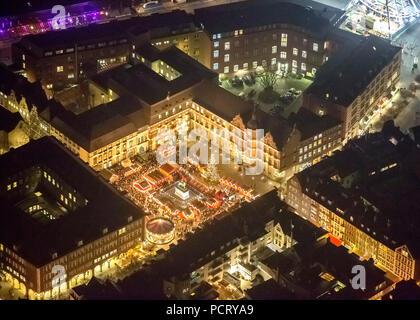 Aerial photo, Jan Wellem Statue, Christmas market at Town Hall Square, Dusseldorf Town Hall, night shot, Dusseldorf, Rhineland, North Rhine-Westphalia, Germany, Europe - Stock Photo