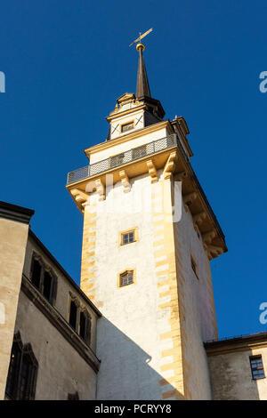 Elbe Cycletour, Saxony, Torgau, Hartenfels Castle, Hausmann tower - Stock Photo