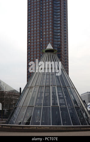 Conical lift hoods made of glass in front of the Messeturm at the Friedrich-Ebert-facility in Frankfurt am Main - Stock Photo
